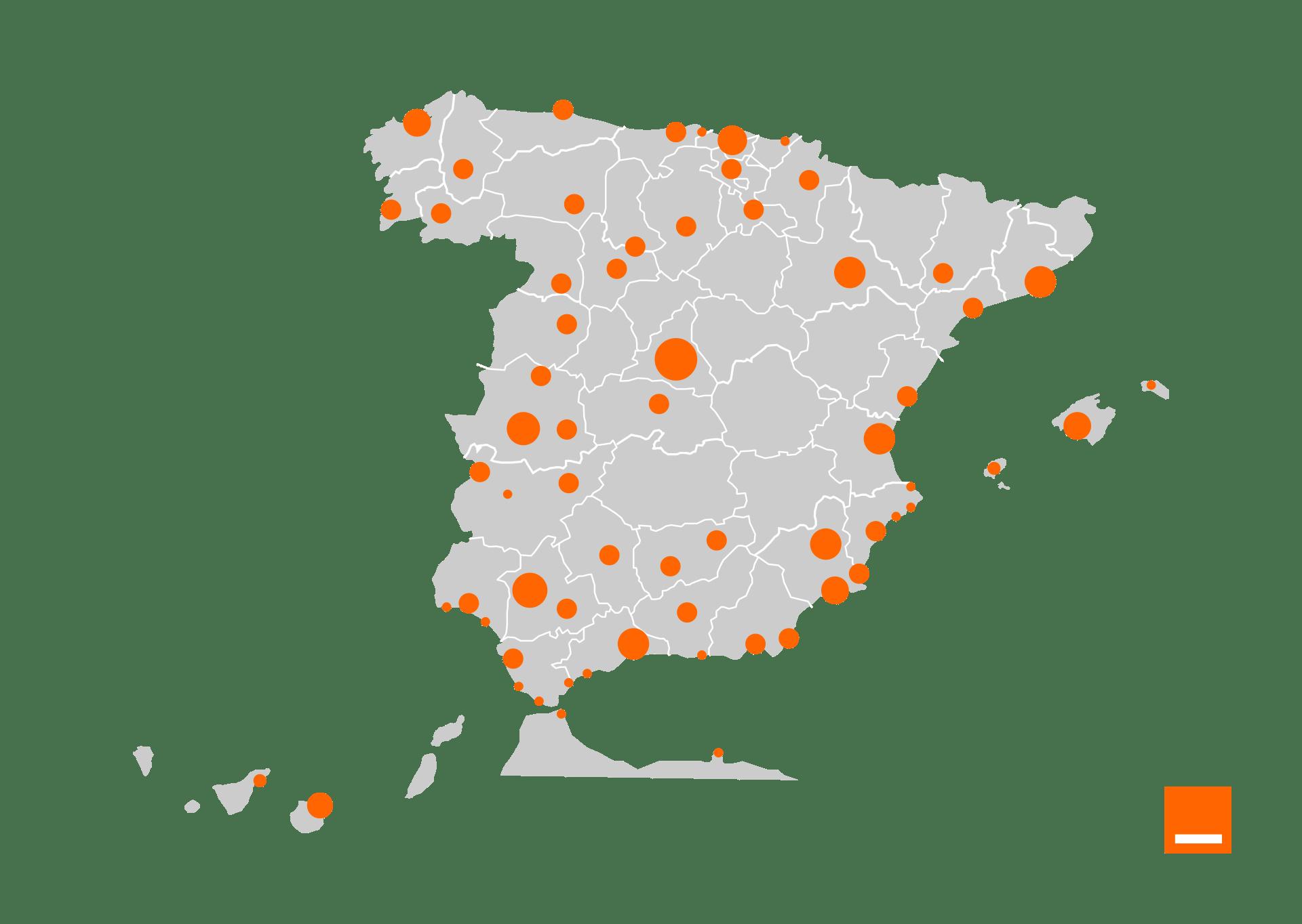 Mapa 5G de Orange