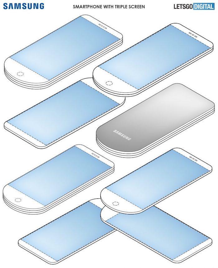 Boceto de la patente registrada por Samsung para pantalla de abanico