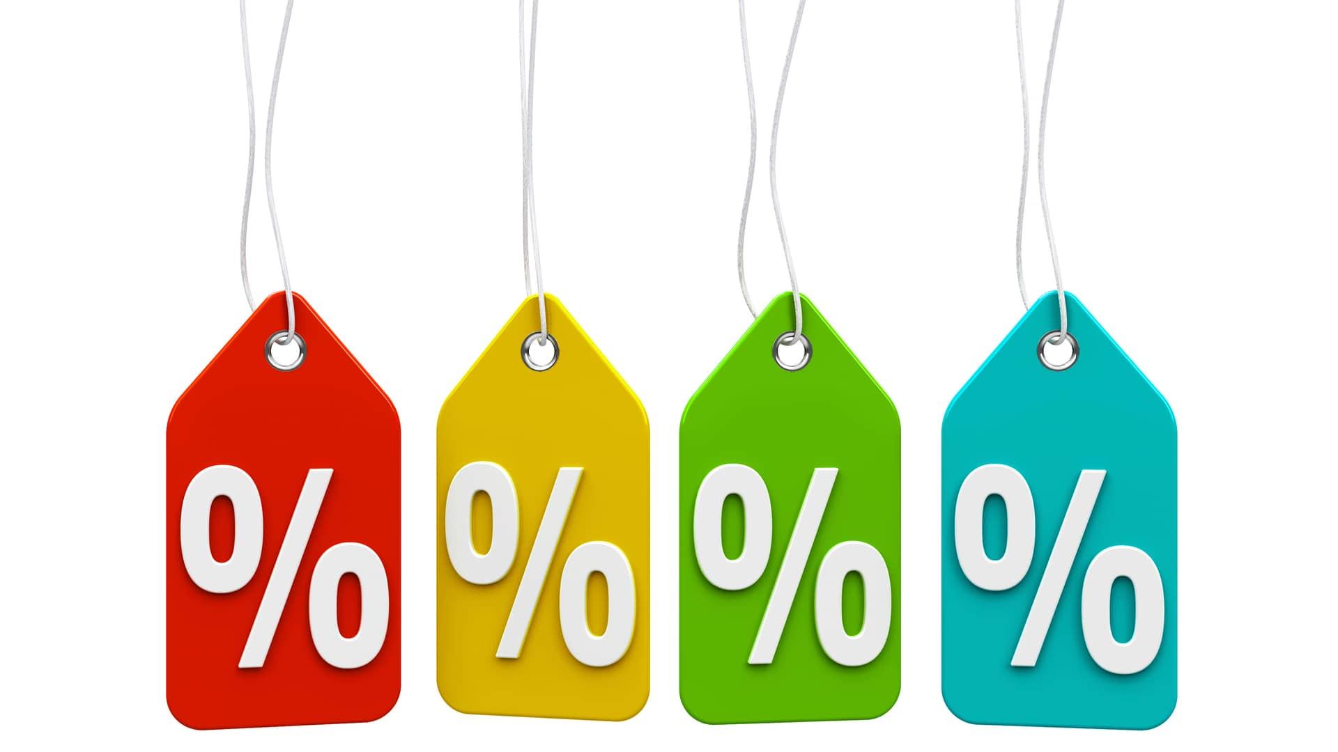 Etiquetas porcentajes simbolizan las ofertas de guuk
