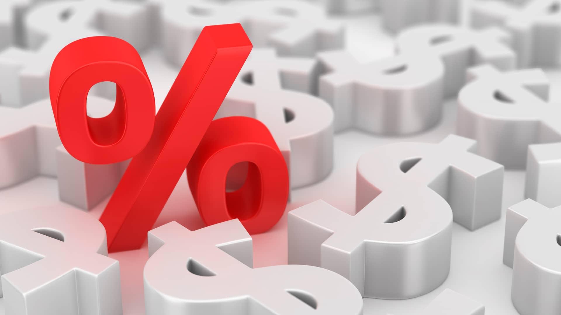 Símbolo porcentaje rojo simboliza las ofertas de virgin telco