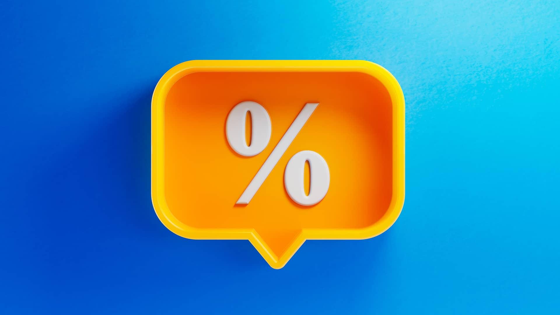 Símbolo de porcentaje representa ofertas de yoigo