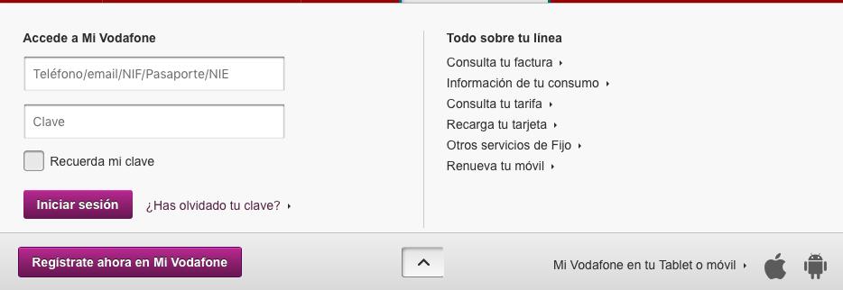 Página acceso Mi Vodafone