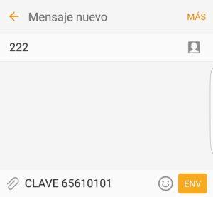 Ejemplo SMS recuperar clave Orange