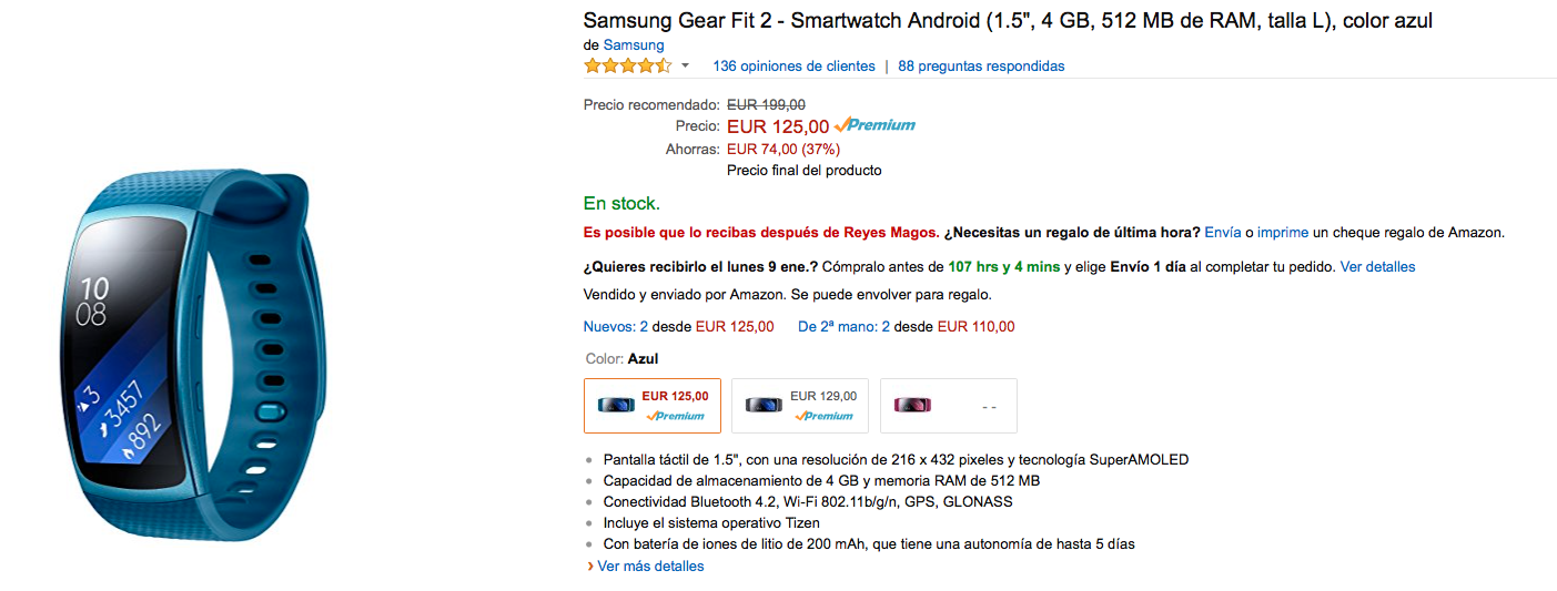 Comprar Samsung Gear Fit 2 azul en Amazon por 125 euros