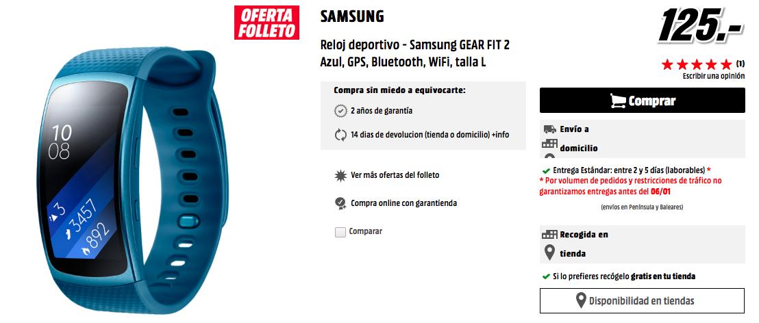 Comprar Samsung Gear Fit 2 Azul en Mediamarkt por 125 euros