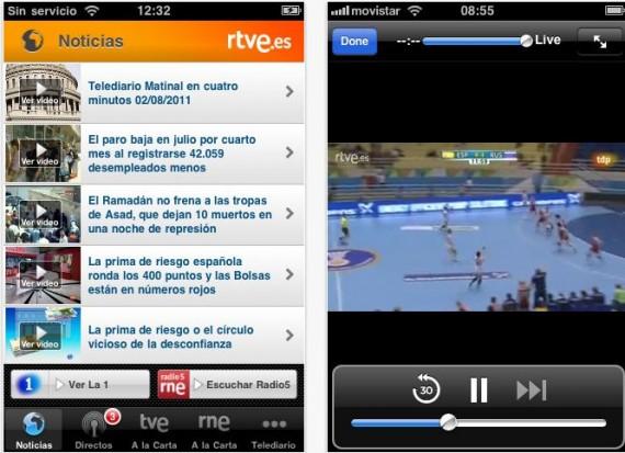 aplicación rtve para ver la tv online en el movil