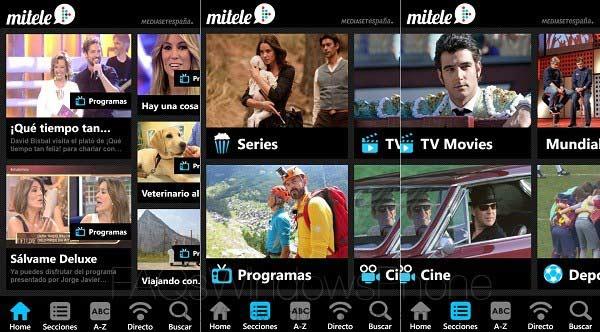 ver tv en el móvil con la aplicacion de mediaset