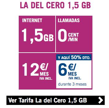 la del cero 1,5GB ofertas Yoigo
