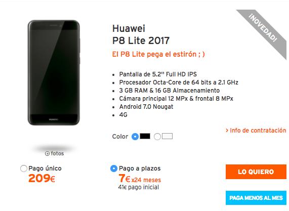 Pago a plazos simyo Huawei p9 Lite